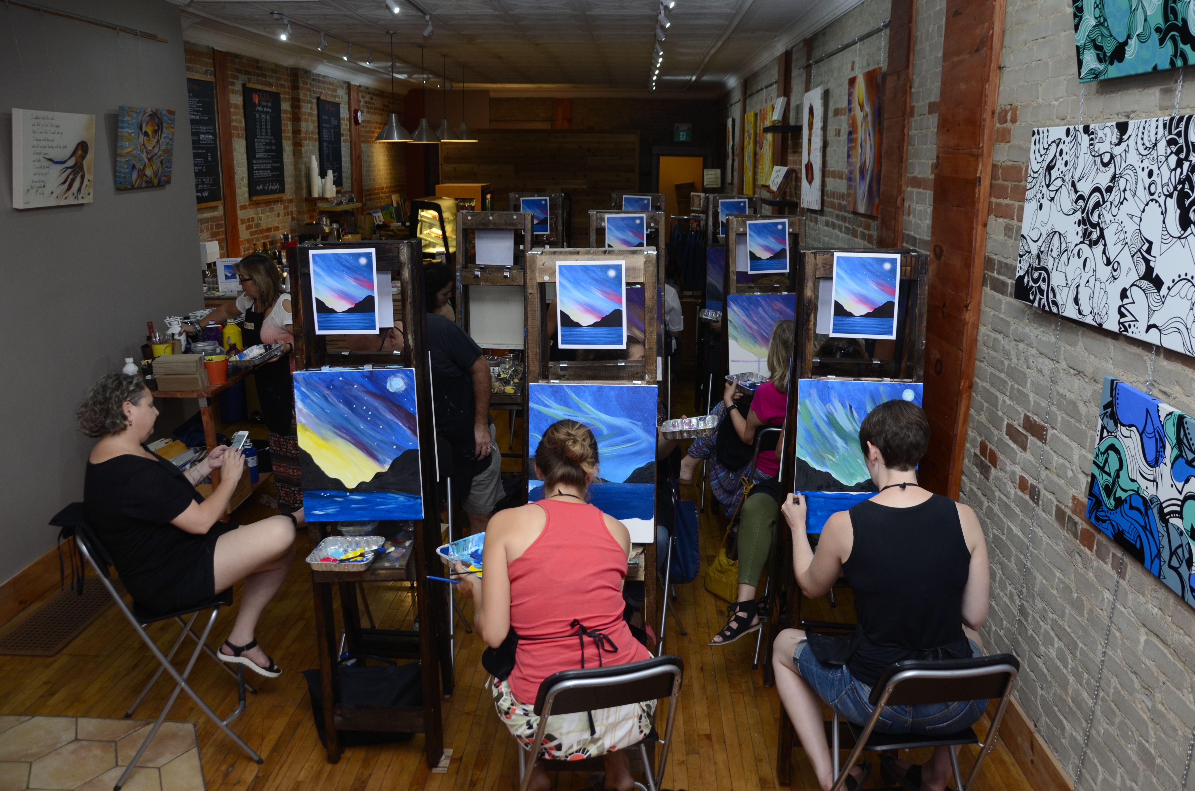 Paint Night in Toronto art studio.