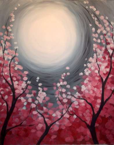 cherry blossoms and white moon