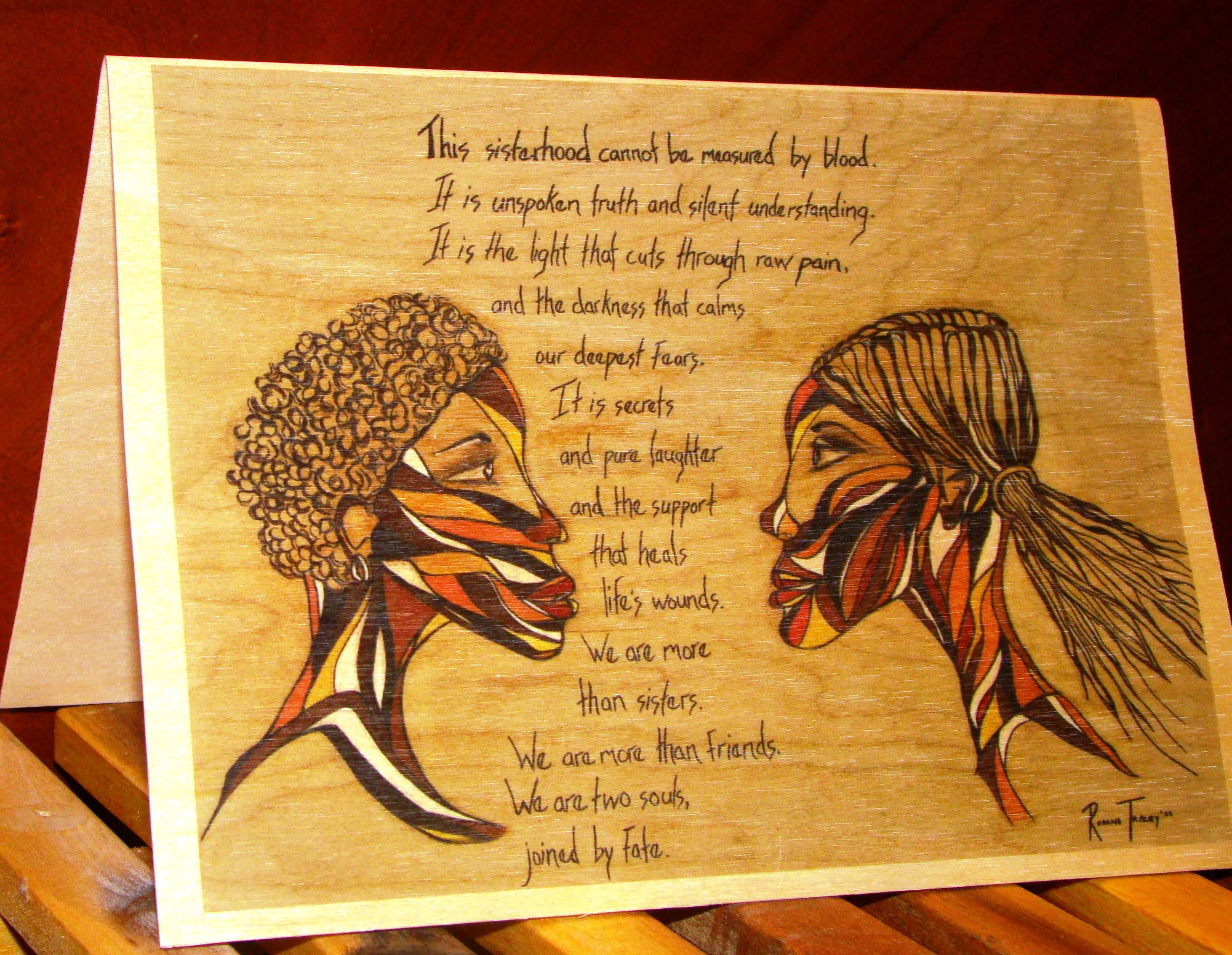 sisterhood wooden greeting card