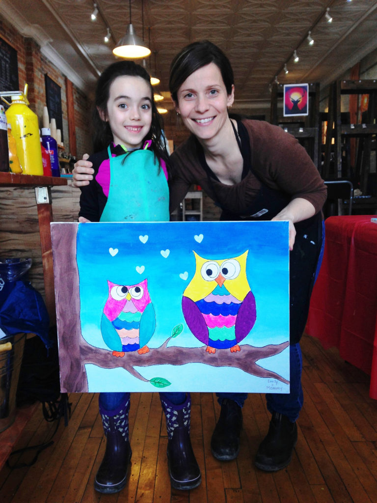 Mom and daughter painting