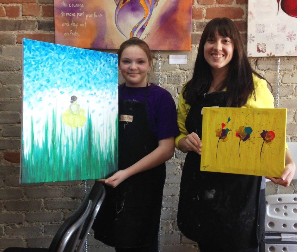 Two ladies painting